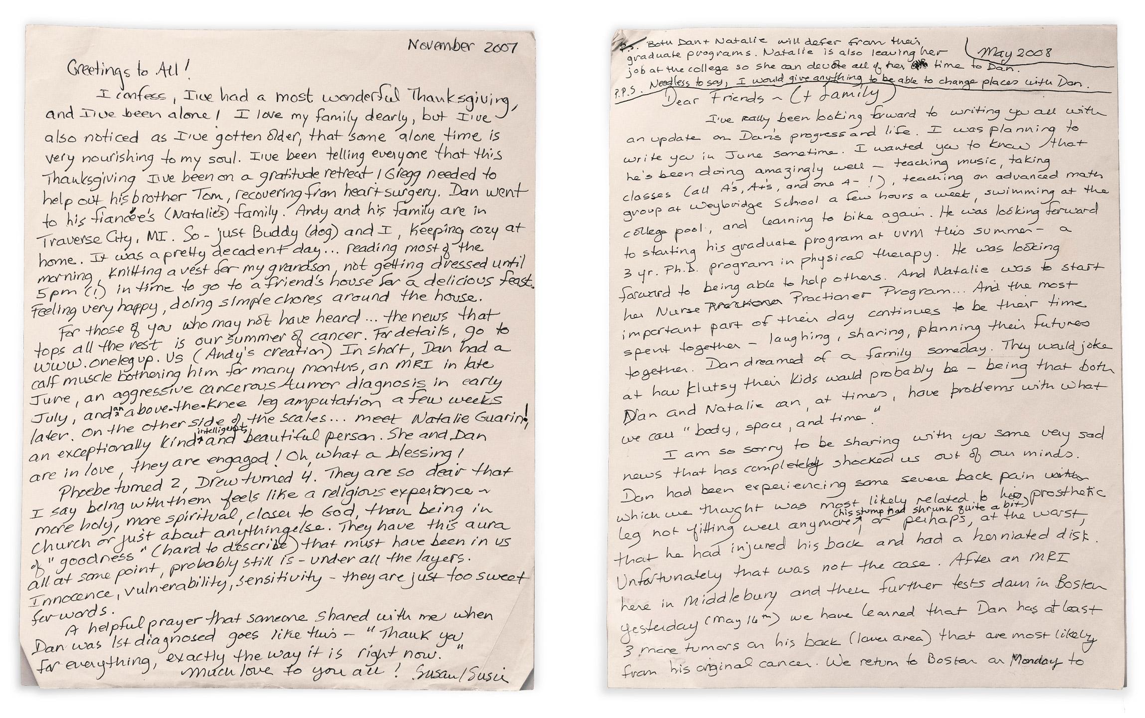 2 original letters hand written by Susan Humphrey