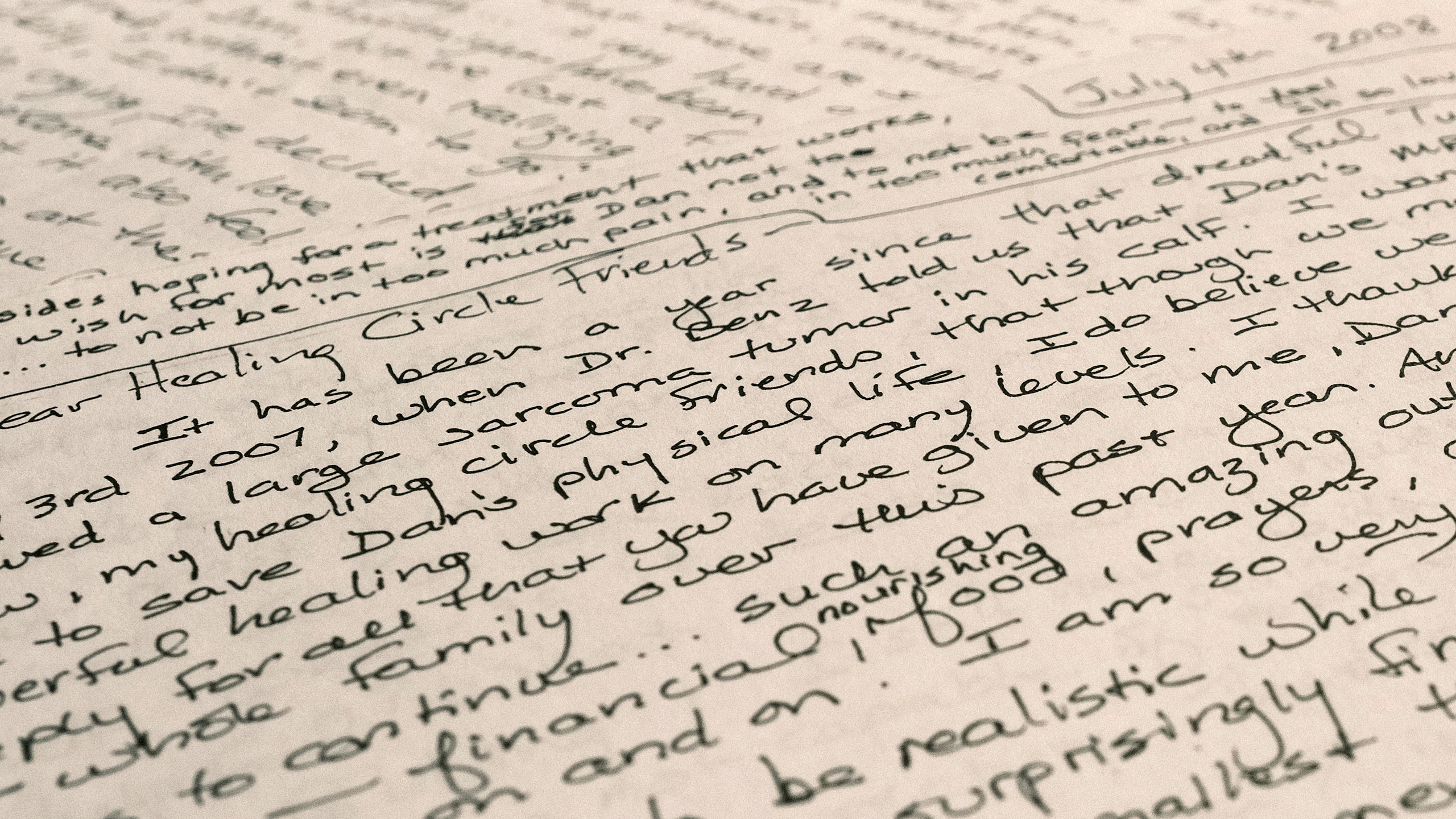 Close up of hand written letters