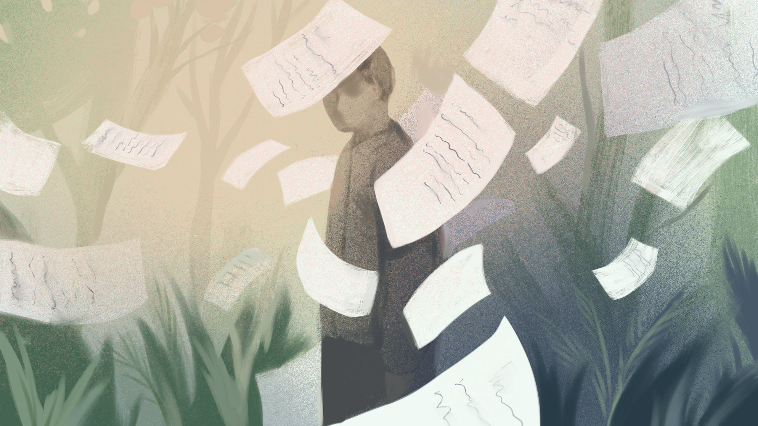 Abstract illustration of a person with correspondence letters floating in the wind surrounding them.